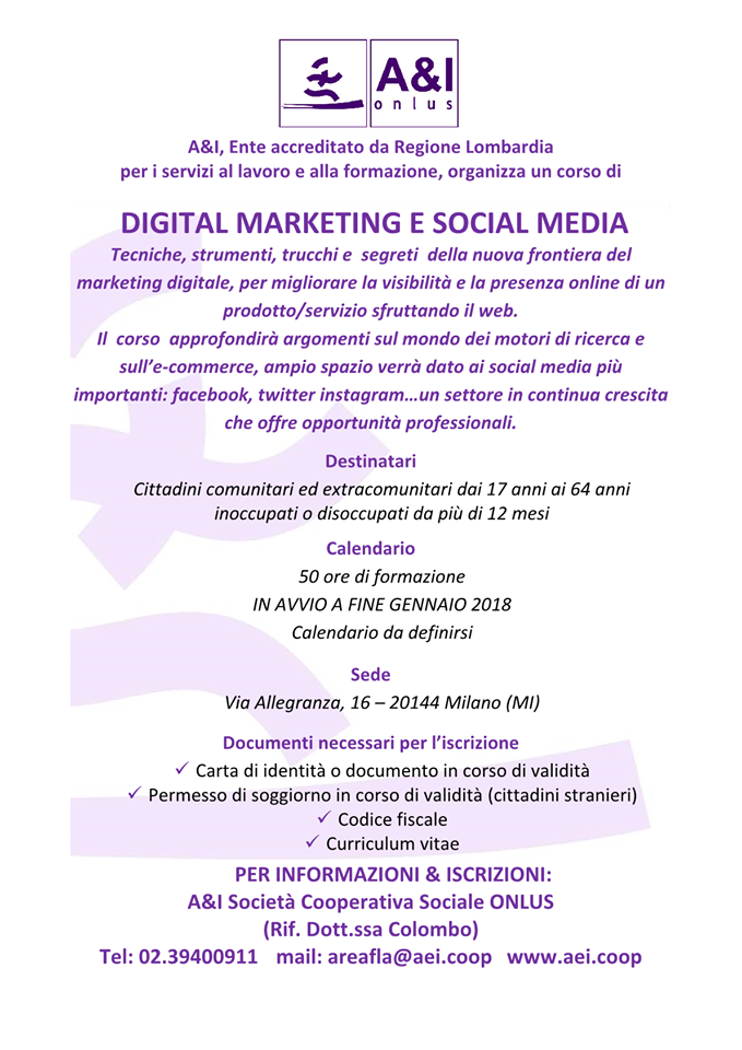 formazione corso digital marketing social media