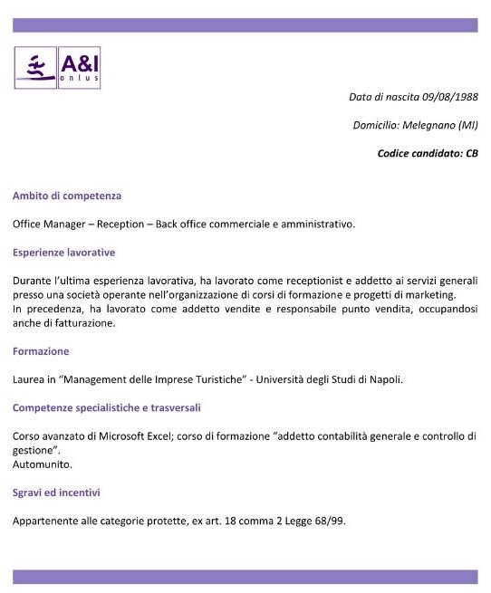 ricerca offerta lavoro curriculum vitae candidato categorie protette 68/99