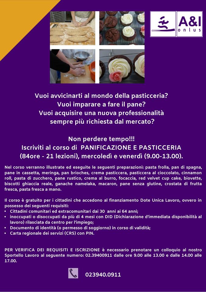 corso formazione gratuito disoccupati inoccupati lavoro professionalità pane pasticceria