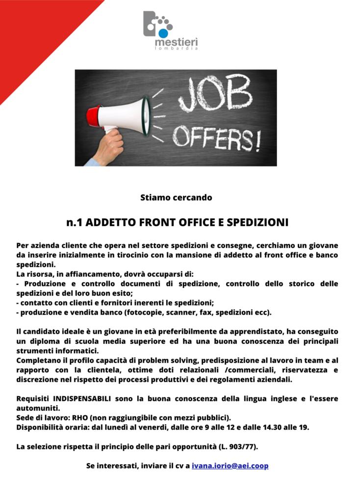 lavoro tirocinio frontoffice offerta job joboffer